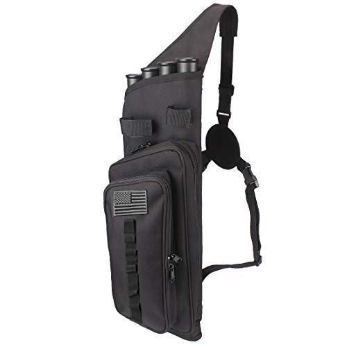 Kratarc 4-Tubes Back Arrow Quiver Field Quiver Recurve Bow Holder Bag Archery Shoulder Hanged Carry for Shooting (Black)