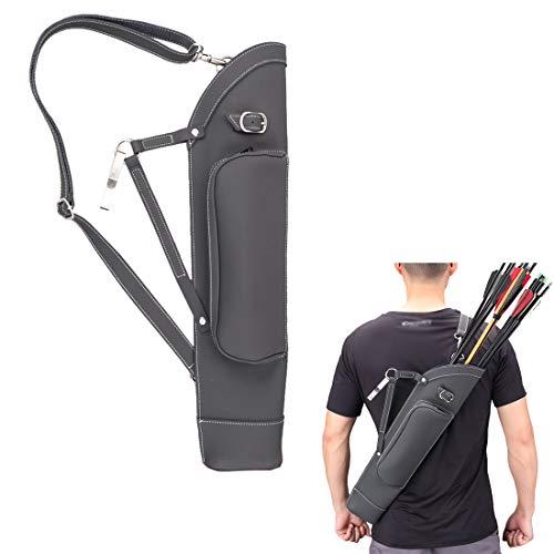 KRATARC Archery Dual Use Leather Back Arrow Quiver Hip Quiver Waist Hang Side with Adjustable Strap Belt Clip (Black)