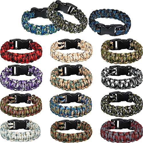 15 Pieces Paracord Bracelets Camo Parachute Cord Bracelet Survival Emergency Tactical Bracelets for Boys,Teens Camping Climbing Theme Party Outdoor Activities Favor