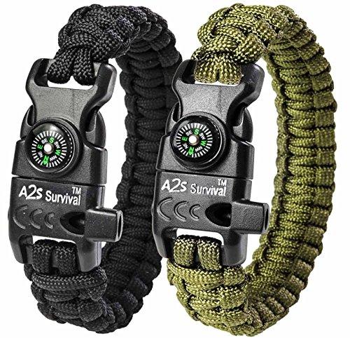 Paracord Bracelet K2-Peak – Survival Bracelets with Embedded Compass Whistle EDC Hiking Gear- Camping Gear Survival Gear Emergency Kit (Black / Green 8')