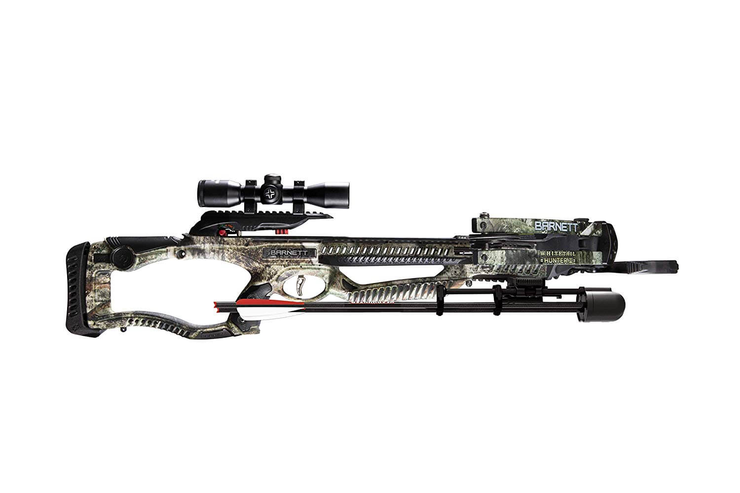 The Barnett Whitetail Hunter II crossbow is a compound crossbow and features a  4x32mm Multi-Reticle Scope.