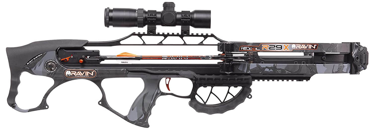 Ravin introduced a new cocking system with their new R29x crossbows. It's now a fully integrated silent cocking system. No clicks, no sounds, dead silence.