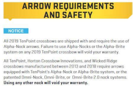 TenPoint Arrow Nock Void Warranty