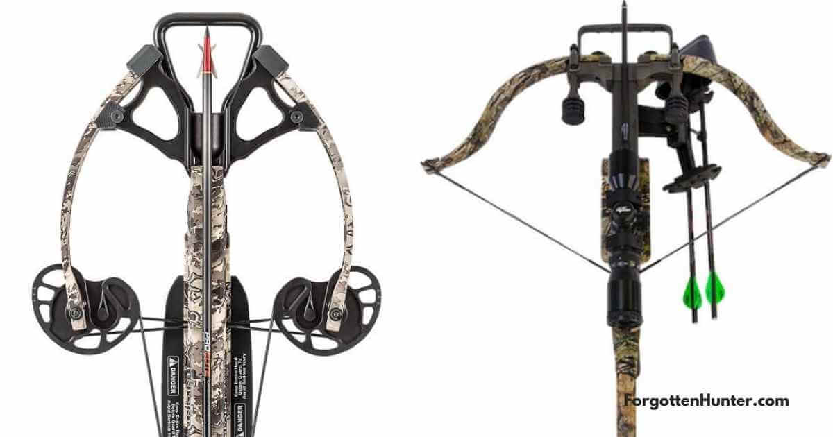 Comparison picture of a compound crossbow and a recurve crossbow