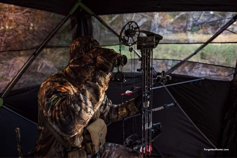 A Hunter hunting from a ground blind